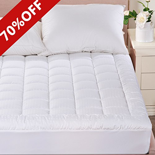 Merous King Size Cotton Mattress Pad Cover - Hypoallergenic Fitted Quilted Mattress Topper - Stretches up to 18 Inches Deep