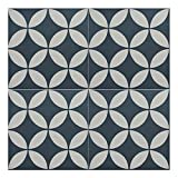 Moroccan Mosaic & Tile House CTP07-11 Amlo 8''x8'' Handmade Cement Tile in Navy Blue and Gray (Pack of 12), Navy BlueWhite