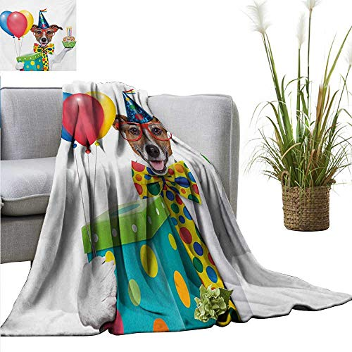 AndyTours Faux Fur Throw Blanket,Kids Birthday,Waiter Server Party Dog with Hat Cone Cupcake Balloons Celebration Boxes,Multicolor,Soft Fabric for Couch Sofa Easy Care 50