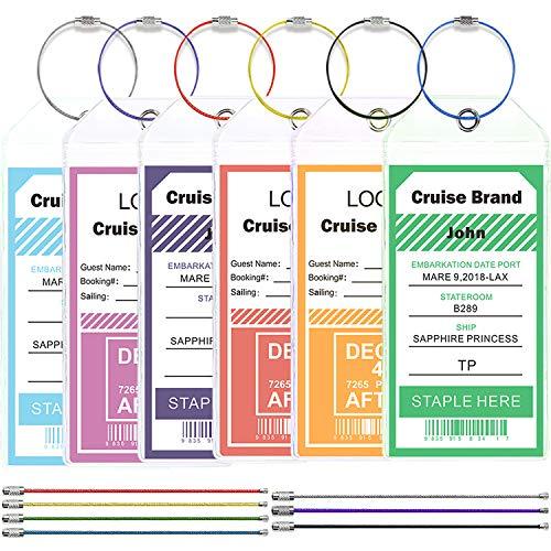 Cruise Tags Wide Luggage Tags Etag Holders Zip Seal & Steel Loops (6 tags)