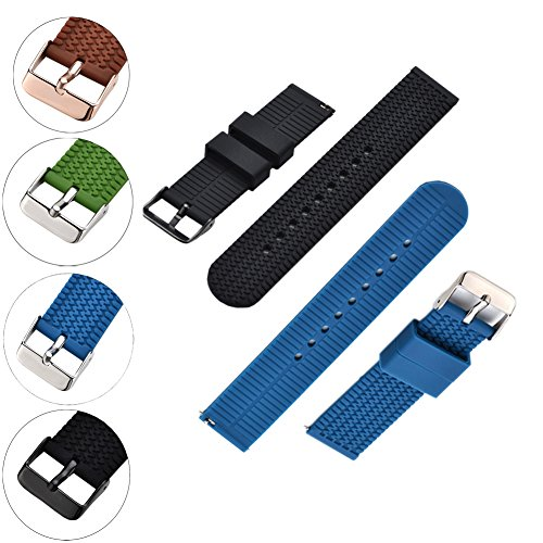 MLQSS Quick Release Watch Bands - Waterproof, Textured Tire Pattern - Choice of Colors & Widths (18mm, 20mm or 22mm) - Soft Silicone Rubber Replacement Watch Straps Pack of 2