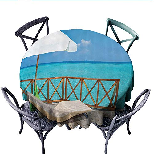 Coastal Decor Collection Washable Tablecloth Parasol and Chaise Lounges Deckchair on a Terrace of Water Villa in Maldives Reef Picture Table Cover for Kitchen (Round, 50 Inch, Aqua Sandy Blue Ivory) ()