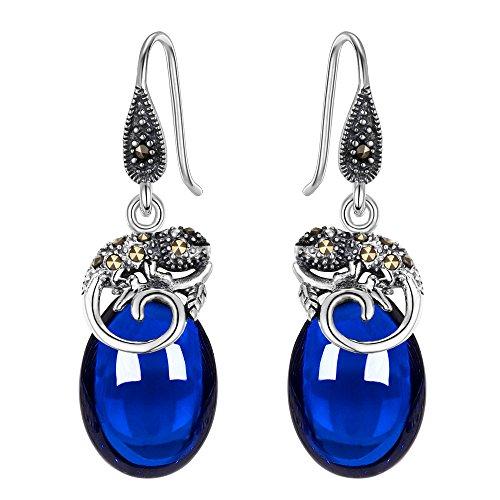 Crystal Lizard Dangle - EVER FAITH 925 Sterling Silver Blue Corundum Crystal Retro Chameleon Hook Dangle Earrings