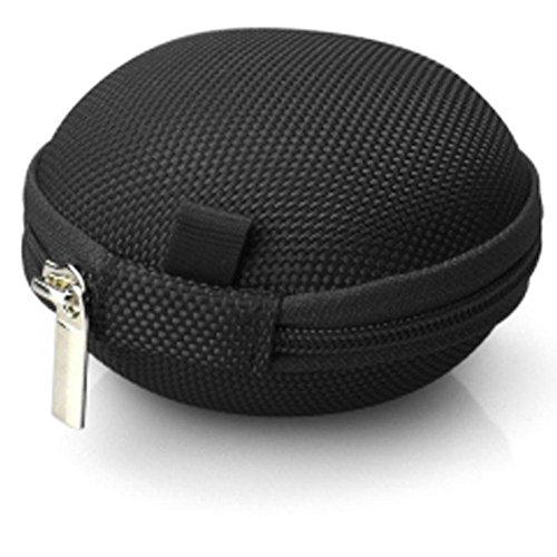 Price comparison product image Leoy88 Headphone Admission Package Portable Mini Round Hard Storage Case Bag (Black)