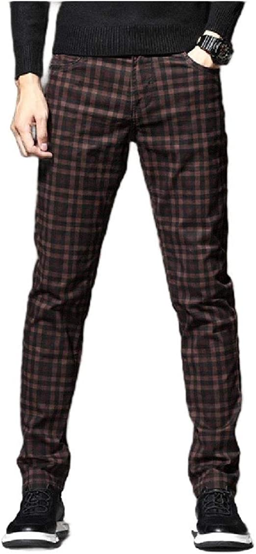VITryst Mens Casual Classic-Fit Pants Straight Fit Slim-Fit Plaid Lounge Pants