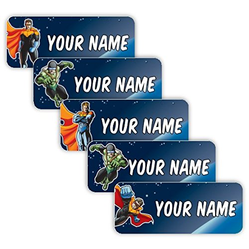 Original Personalized Peel and Stick Waterproof Custom Name Tag Labels for Adults, Kids, Toddlers, and Babies - Use for Office, School, or Daycare (Superheroes Theme)
