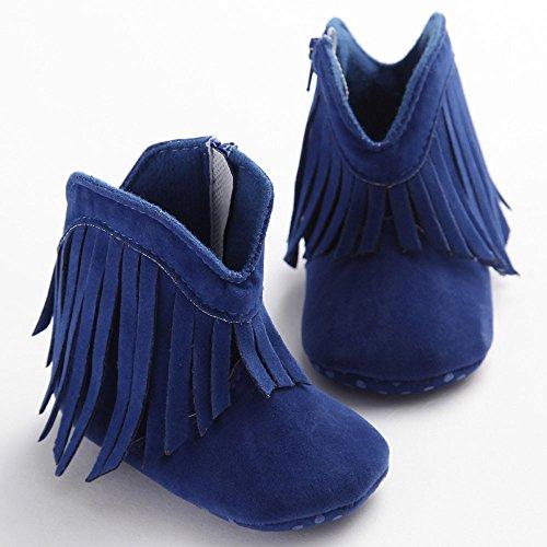 Hunpta Babyschuhe Mädchen Jungen Lauflernschuhe Kleinkind Kind neugeborenes Mädchen Quaste Schuhe weiche Sohle Stiefel Prewalker (13, Blau) Blau
