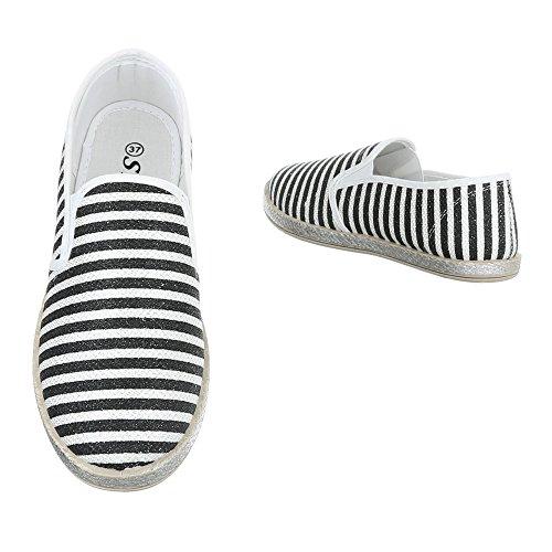 Ital-Design - zapatilla baja Mujer Schwarz Weiß 6598-Y