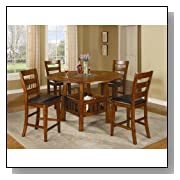 Inland Empire Furniture Madison Dark Oak Solid Wood 5 Piece Counter Height Dining Set with Lazy Susan and Drop Leafs