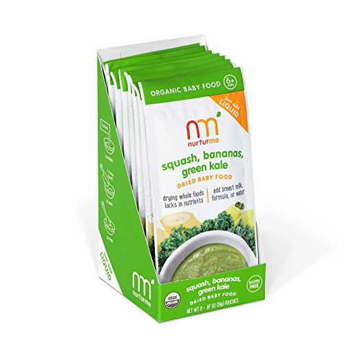 NurturMe NurturMeals, Dried Organic Food Pouches, Squash, Bananas and Green Kale, 8 Count