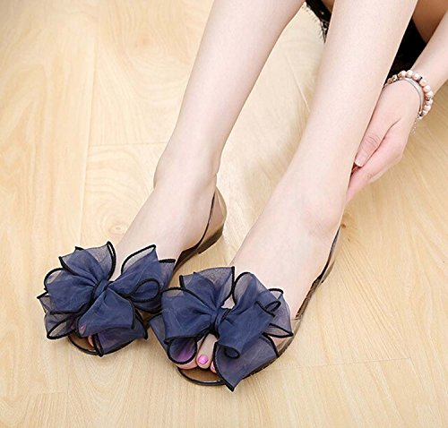 Mineroad Mujer Sandalias Calzado Dulce Bowknot Gelatina Jaleas Planas Jelly Beach Playa Zapatos Azul