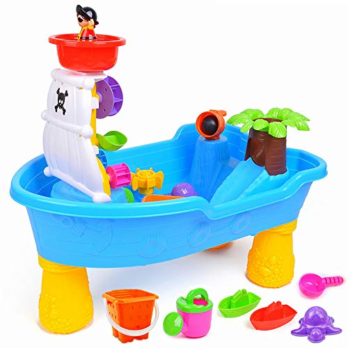 Kids Beach Sea Pirate Ship Toys, Creative Puzzle Toys Pirate Ship Beach Table Pool Table Outdoor Play Large Toy Travel Kids Toy Set by Pandady (Image #1)