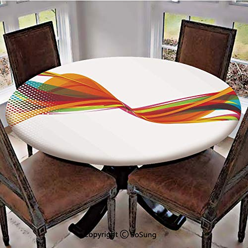 Elastic Edged Polyester Fitted Table Cover,Rainbow Curved Wave Smoke like Image with Pixel Style Detailed Work of Art Print Decorative,Fits up 45
