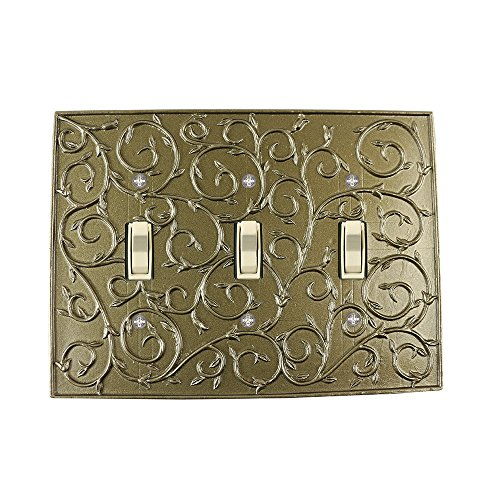 Meriville French Scroll 3 Toggle Wallplate, Triple Switch Electrical Cover Plate, Aged Gold
