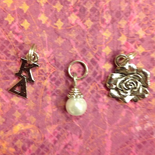 Sorority Greek Kappa Delta Essential Trio of Charms - lavaliere, rose mascot, white glass pearl dangle by Ann Peden Jewelry