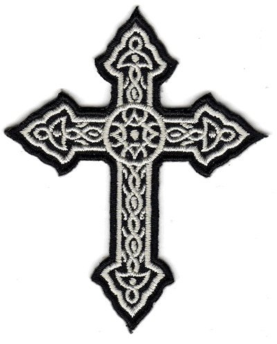 The Black and White Ornate Cross PATCH, by: