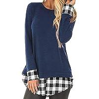Casual Femmes Tee Shirt à Carreaux Patchwork Chemise Tunique à Manches Longues Tops Blouse