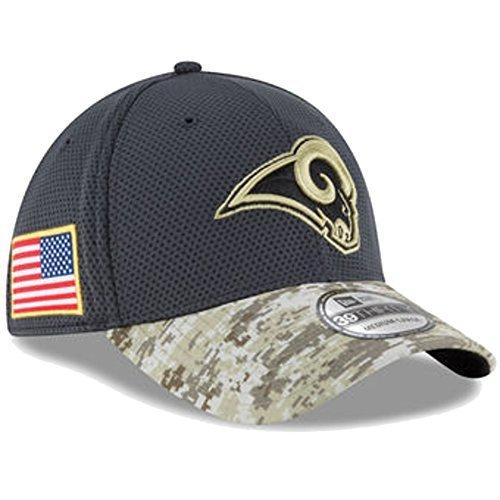 - New Era 39Thirty Hat Los Angeles Rams NFL 2016 Salute to Service Gray/Camo Cap (S/M) - S/M