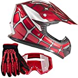 Youth Kids Offroad Gear Combo Helmet Gloves Goggles DOT Motocross ATV Dirt Bike MX Spiderman Red, Medium
