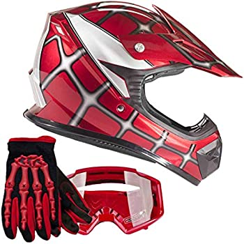 Youth Chest Protector 75-100lb Matte Black Helmet Combo Red Glove Goggles Kids