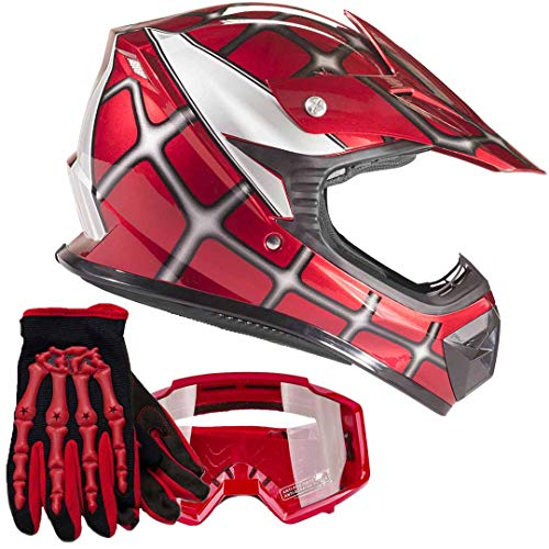 Youth Kids Offroad Gear Combo Helmet Gloves Goggles DOT Motocross ATV Dirt Bike MX Spiderman Red, Small