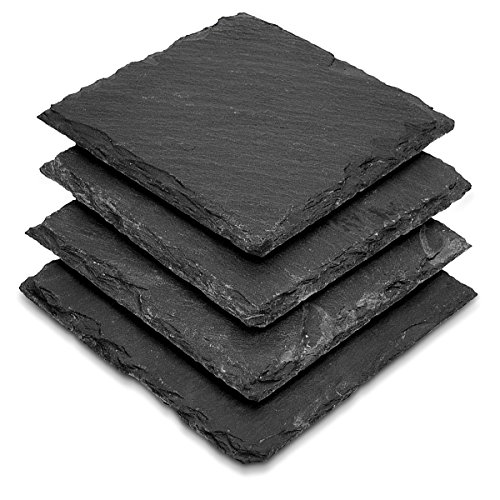 Navaris Natural Slate Bar Coasters - Set of 4 Square Drink Holder Tiles in Dark Gray Stone - 4 x 4 Inch ()