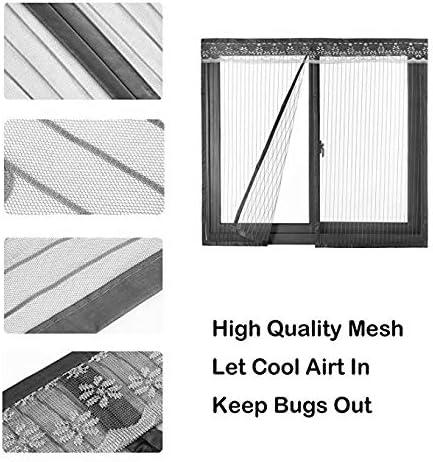 網戸 マグネット式, ジッパー閉鎖 磁気パンチ無料 着脱式 画面 メッシュ カーテン マジックテープ付き ペットに優しい-g 150x200cm