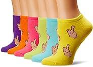 K-Bell Womens Middle Finger 6 Pair Pack Ankle Socks