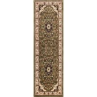 Noble Medallion Green Persian Floral Oriental Formal Traditional 3 x 10 (27 x 96 Runner) Area Rug Easy to Clean Stain Fade Resistant Shed Free Modern Contemporary Soft Living Dining Room Rug