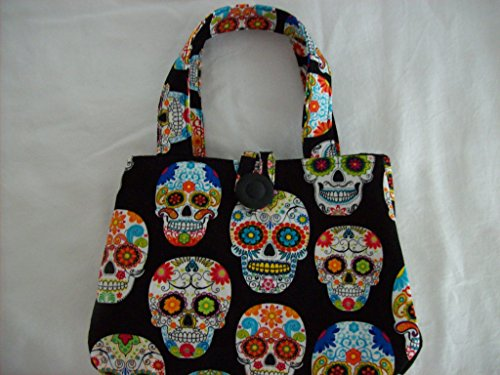 Handmade multi color skulls Little girls Purse for Halloween ()