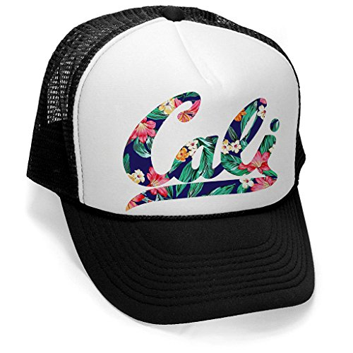 Men's Tropical Floral Cali Hat PLY B379 Black/White Trucker Hat One - Snapback Tropical