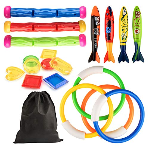 Kupton Diving Pool Toys Underwater Sinking Toy Set Includes Rings(4 Pcs), Torpedo Bandits(4 Pcs), Diving Sticks(3 Pcs), Under Water Treasures (8pcs) with Storage Bag, Summer Swimming Gift for Kids