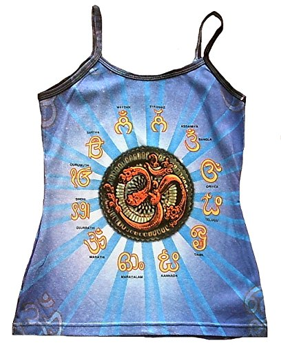 Camiseta de tirantes para mujer de espaguetis Ticila OM AUM símbolo Top azul estribillo hindú Psycho delic Goa Trance DJ Beach Party arte tipo Religión Star pericárdicoy diseño vintage
