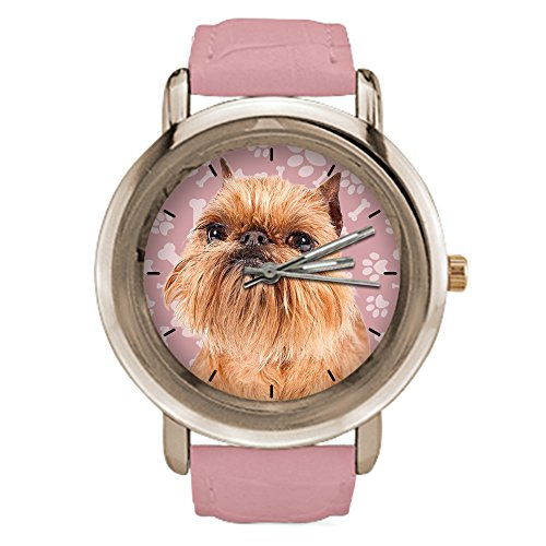 Leather Griffon Watch - Leather Watch for Women Printed Brussells Griffon Dog,Rose Gold Leather Strap