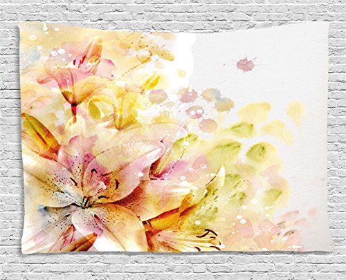 Ambesonne Shabby Chic Tapestry, Watercolored Lilies Flowers Buds Leaves Colored Marks Artwork, Wall Hanging for Bedroom Living Room Dorm, 60 W X 40 L inches, Cream Light Pink and Peach -