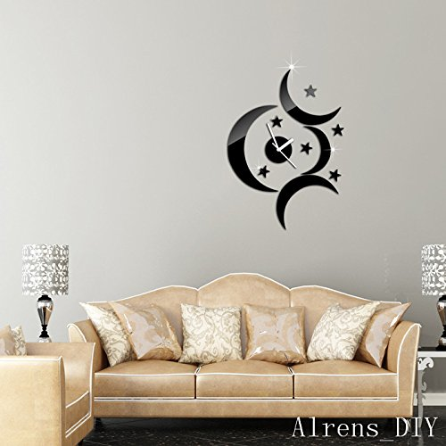 Alrens_DIY(TM)Black 4 Moons Stars Art Mordern Luxury Design Acrylic Non-ticking Quiet Quartz Wall Clock DIY Removable 3D Crystal Mirror Wall Clock Wall Sticker Home Decor Art Living Room Bedroom Office Decoration by Alrens (Image #4)