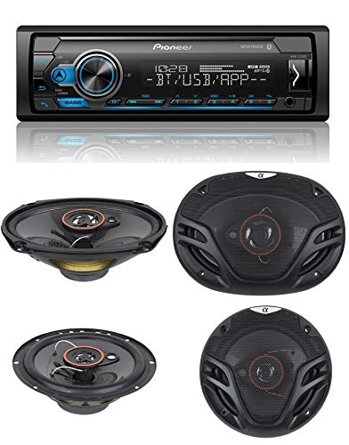 "Pioneer MVH-S215BT Stereo Single DIN Bluetooth In-Dash USB MP3 Auxiliary AM/FM/Digital Media Pandora and Spotify Car Stereo Receiver with Pair of 6.5"" and Pair of 6x9"" Alphasonik Speakers"