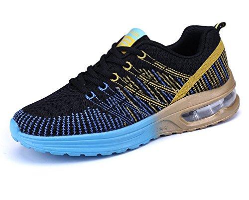 NEOKER Herren Damen Laufschuhe Sportschuhe Outdoor Running Freizeit Schuhe Turnschuhe Leicht Sneaker Schwarz Rot Grau 35-44 Schwarz+blau