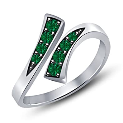 Vorra Fashion 925 Sterling Silver Green Sapphire Bypass Adjustable Toe Ring