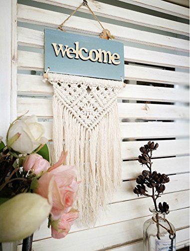 Bulgeo Macrame Woven Wall Hanging Welcome Tapestry Wooden BOHO Shabby Chic
