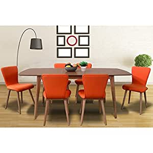 Dalia tangerine mid century 7 piece living for 7 piece living room set with tv