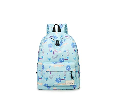 7921412df2 Tqingse Lady Shoulder Bag Canvas Childlike Print Backpack Female College  Wind Student Leisure Travel Large Capacity Schoolbag Light Blue   Amazon.co.uk  ...