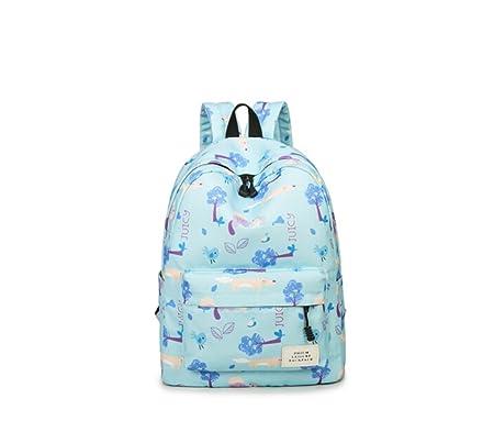 7921412df2 Tqingse Lady Shoulder Bag Canvas Childlike Print Backpack Female College  Wind Student Leisure Travel Large Capacity Schoolbag Light Blue   Amazon.co.uk  ...