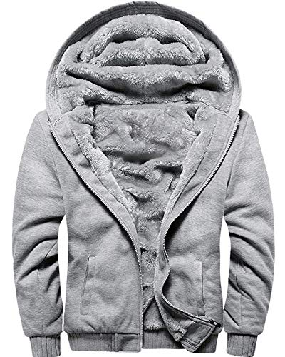 MACHLAB Men's Pullover Winter Workout Fleece Hoodie Jackets Full Zip Wool Warm Thick Coats Gray US L(Tag - Jacket Approach Warm Up