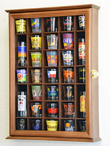 (31 Shot Glass Shotglass Shooter Display Case Holder Cabinet Wall Rack)