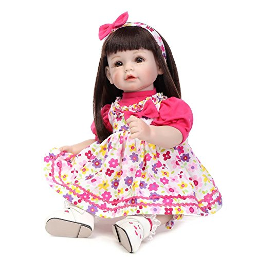 NPK Collection Silicone Reborn Baby Dolls Girl 22inch 55cm Realisitc Barbie Princess Life Size Girl Doll Pink Dress Kids Collectible Gift