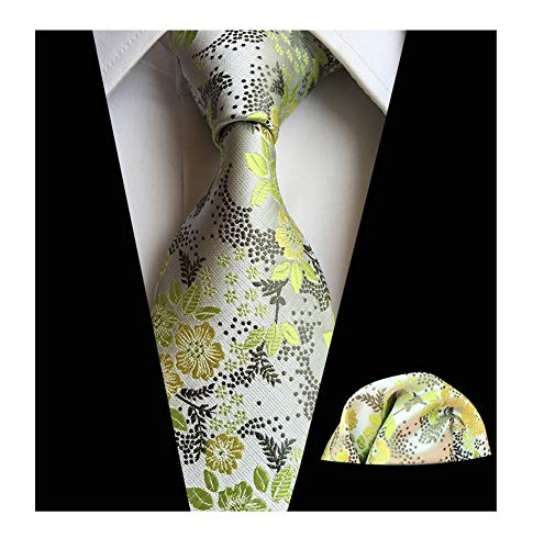 (Men Green Silver Silk Cravat Tie Set Jacquard Mint Wedding Holiday Prom Neckwear)