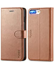 TUCCH iPhone 8 Plus Case, iPhone 7 Plus Case, iPhone 8 Plus Wallet Case,Flip Cover with [Viewing Stand][TPU Inner Shell][Card Slots] PU Leather Folio Case Compatible with iPhone 7 Plus/8 Plus, Brown