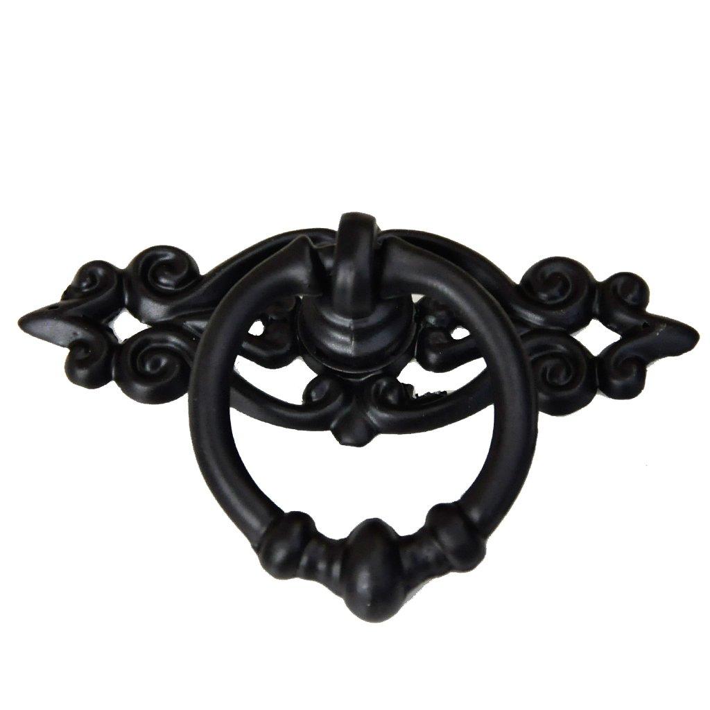 Vintage Black Wardrobe Cabinet Door Cupboard Drawer Pull Ring Handle Knob