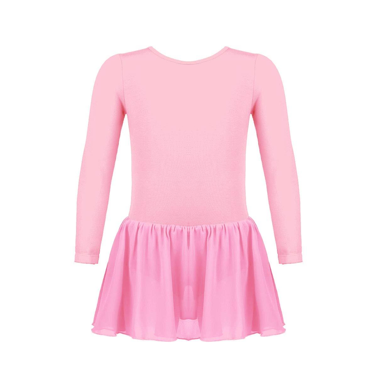 Freebily Little Big Girls Classic Long Sleeve Leotard with Chiffon Skirt Ballet Tutu Gymnastics Dance Dress